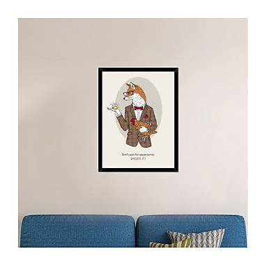 Naxart 'Fox Man In Pin Suit' Framed Graphic Art Print on Canvas; 34'' H x 26'' W x 1.5'' D