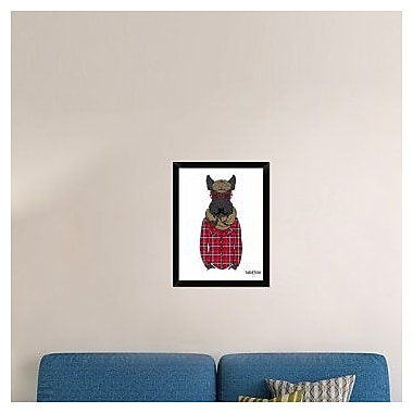 Naxart 'Scottish Terrier In Pin Plaid Shirt' Framed Graphic Art Print on Canvas