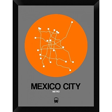 Naxart 'Mexico City Orange Subway Map' Framed Graphic Art Print on Canvas; 26'' H x 20'' W x 1.5'' D