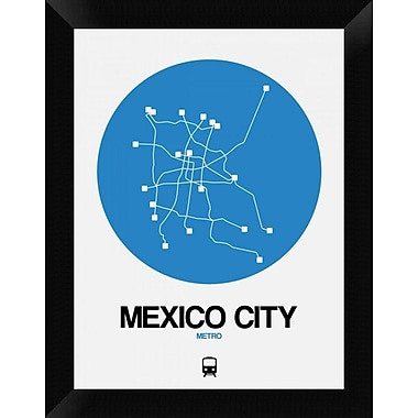 Naxart 'Mexico City Blue Subway Map' Framed Graphic Art Print on Canvas; 18'' H x 14'' W x 1.5'' D