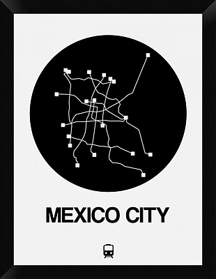 Naxart 'Mexico City Black Subway Map' Framed Graphic Art Print on Canvas; 26'' H x 20'' W x 1.5'' D