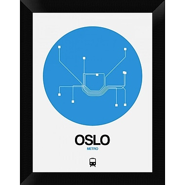 Naxart 'Oslo Blue Subway Map' Framed Graphic Art Print on Canvas; 18'' H x 14'' W x 1.5'' D