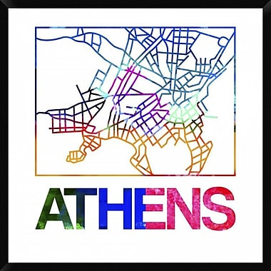 Naxart 'Athens Watercolor Street Map' Framed Graphic Art Print on Canvas; 42'' H x 42'' W x 1.5'' D