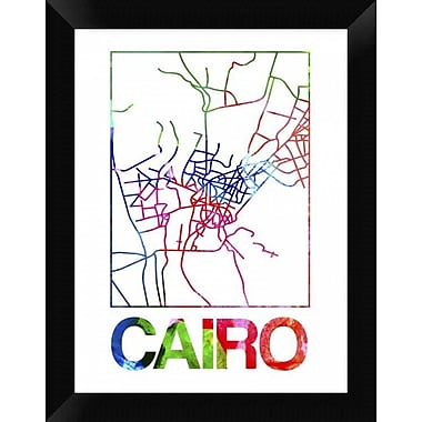 Naxart 'Cairo Watercolor Street Map' Framed Graphic Art Print on Canvas; 18'' H x 14'' W x 1.5'' D