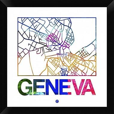 Naxart 'Geneva Watercolor Street Map' Framed Graphic Art Print on Canvas; 20'' H x 20'' W x 1.5'' D
