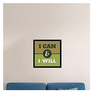 Naxart 'I Can And I Will 1' Framed Textual Art on Canvas; 26'' H x 26'' W x 1.5'' D