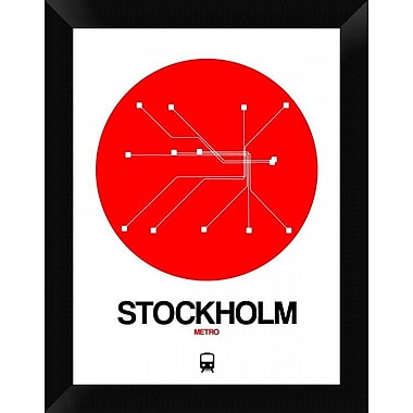 Naxart 'Stockholm Red Subway Map' Framed Graphic Art Print on Canvas; 18'' H x 14'' W x 1.5'' D