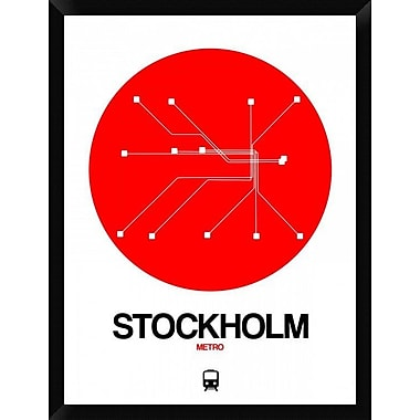 Naxart 'Stockholm Red Subway Map' Framed Graphic Art Print on Canvas; 34'' H x 26'' W x 1.5'' D