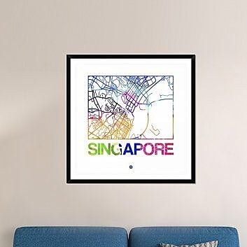 Naxart 'Singapore Watercolor Street Map' Framed Watercolor Painting Print; 42'' H x 42'' W x 1.5'' D