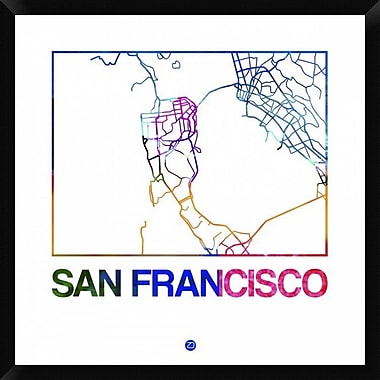 Naxart 'San Francisco Watercolor Street Map' Framed Graphic Art Print on Canvas