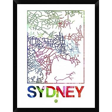 Naxart 'Sydney Watercolor Street Map' Framed Graphic Art Print on Canvas; 34'' H x 26'' W x 1.5'' D