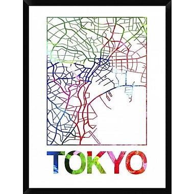 Naxart 'Tokyo Watercolor Street Map' Framed Graphic Art Print on Canvas; 42'' H x 32'' W x 1.5'' D