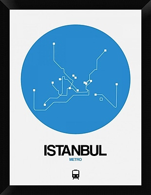 Naxart 'Istanbul Blue Subway Map' Framed Graphic Art Print on Canvas; 26'' H x 20'' W x 1.5'' D