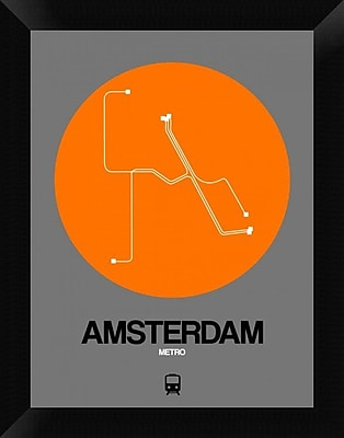Naxart 'Amsterdam Orange Subway Map' Framed Graphic Art Print on Canvas; 18'' H x 14'' W x 1.5'' D