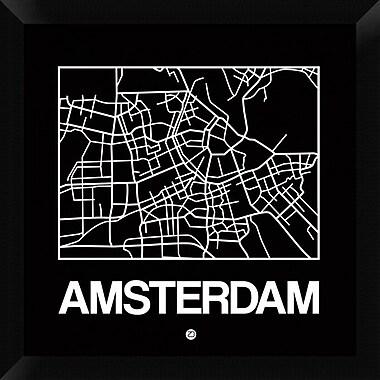 Naxart 'Black Map of Amsterdam' Framed Graphic Art Print on Canvas; 20'' H x 20'' W x 1.5'' D