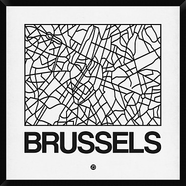 Naxart 'White Map of Brussels' Framed Graphic Art Print on Canvas; 38'' H x 38'' W x 1.5'' D
