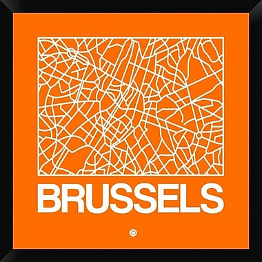 Naxart 'Orange Map of Brussels' Framed Graphic Art Print on Canvas; 26'' H x 26'' W x 1.5'' D