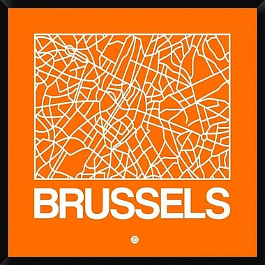Naxart 'Orange Map of Brussels' Framed Graphic Art Print on Canvas; 42'' H x 42'' W x 1.5'' D