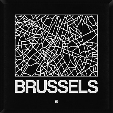 Naxart 'Black Map of Brussels' Framed Graphic Art Print on Canvas; 38'' H x 38'' W x 1.5'' D