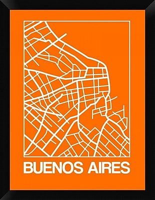 Naxart 'Orange Map of Buenos Aires' Framed Graphic Art Print on Canvas; 26'' H x 20'' W x 1.5'' D