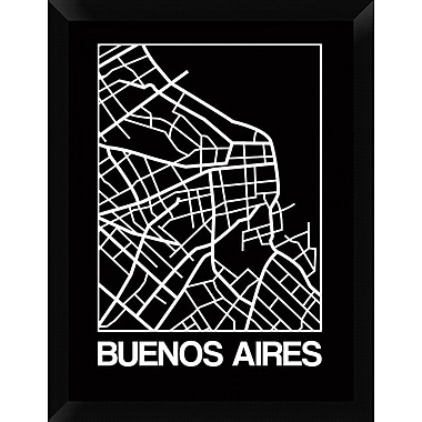 Naxart 'Black Map of Buenos Aires' Framed Graphic Art Print on Canvas; 26'' H x 20'' W x 1.5'' D