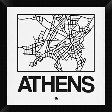 Naxart 'White Map of Athens' Framed Graphic Art Print on Canvas; 20'' H x 20'' W x 1.5'' D