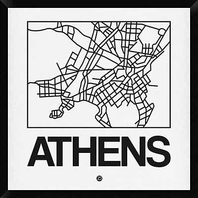 Naxart 'White Map of Athens' Framed Graphic Art Print on Canvas; 32'' H x 32'' W x 1.5'' D
