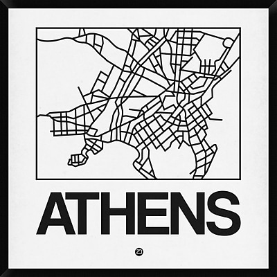 Naxart 'White Map of Athens' Framed Graphic Art Print on Canvas; 42'' H x 42'' W x 1.5'' D