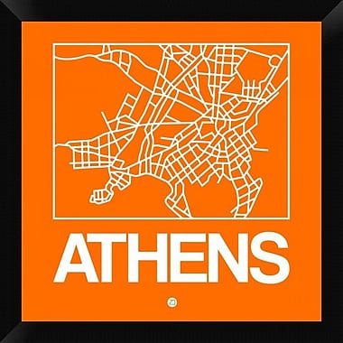 Naxart 'Orange Map of Athens' Framed Graphic Art Print on Canvas; 20'' H x 20'' W x 1.5'' D