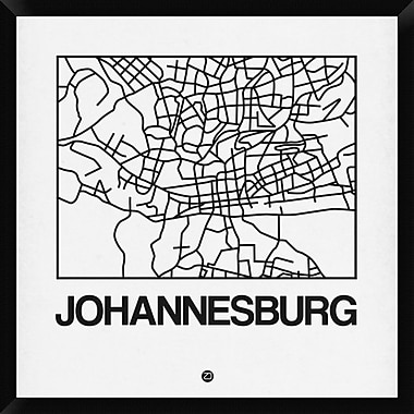 Naxart 'White Map of Johannesburg' Framed Graphic Art Print on Canvas; 32'' H x 32'' W x 1.5'' D