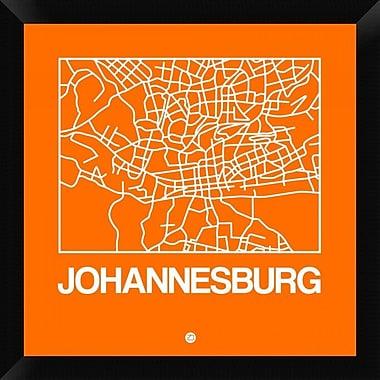 Naxart 'Orange Map of Johannesburg' Framed Graphic Art Print on Canvas; 20'' H x 20'' W x 1.5'' D