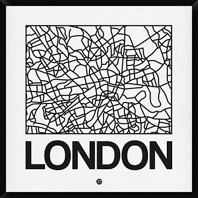 Naxart 'White Map of London' Framed Graphic Art Print on Canvas; 42'' H x 42'' W x 1.5'' D