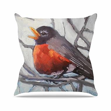 East Urban Home Winter Robin Throw Pillow; 20'' H x 20'' W x 7'' D