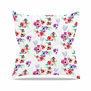 East Urban Home Spring Flowers and Birds Throw Pillow; 20'' H x 20'' W x 7'' D