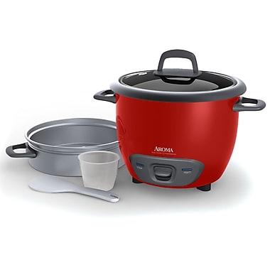 Aroma 14-Cup Pot Style Rice Cooker and Food Steamer Set; Red