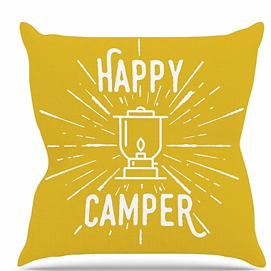East Urban Home Happy Camper Throw Pillow; 20'' H x 20'' W x 7'' D