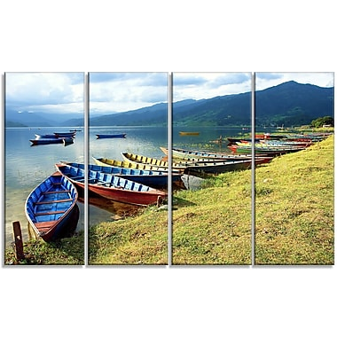 DesignArt 'Color Boats in Phewa Lake' Photographic Print Multi-Piece Image on Canvas