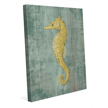 Click Wall Art 'Bright Centered Seahorse Nautical' Painting Print on Wrapped Canvas