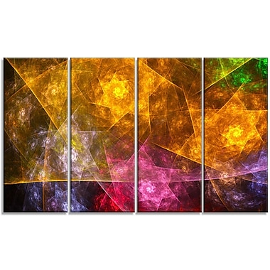 DesignArt 'Yellow Pink Rotating Polyhedron' Graphic Art Print Multi-Piece Image on Canvas
