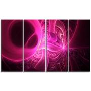 DesignArt 'Bright Pink Designs on Black' Graphic Art Print Multi-Piece Image on Canvas
