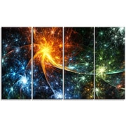 DesignArt 'Colorful Fireworks w/ Stars' Graphic Art Print Multi-Piece Image on Canvas