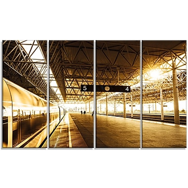 DesignArt 'Train at Railway Station w/ Sunlight' Photographic Print Multi-Piece Image on Canvas