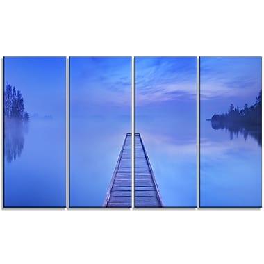 DesignArt 'Jetty at Blue Dawn Panorama' Photographic Print Multi-Piece Image on Canvas