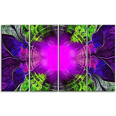 DesignArt 'Pink Fractal Circles and Curves' Graphic Art Print Multi-Piece Image on Canvas