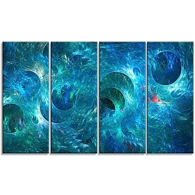 DesignArt 'Blue Circles Fractal Texture' Graphic Art Print Multi-Piece Image on Canvas