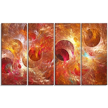 DesignArt 'Red Yellow Circles Texture' Graphic Art Print Multi-Piece Image on Canvas