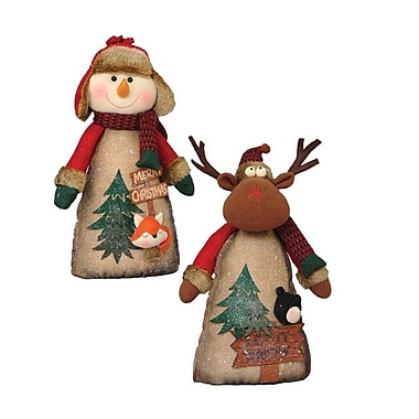 August Grove 2 Piece Seated Country Moose Stuffed Holiday Accent Set