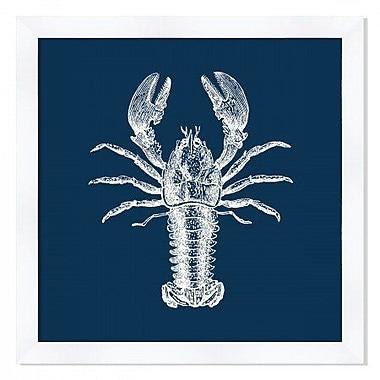 Melissa Van Hise 'Lobster in Blue Reverse' Framed Graphic Art Print