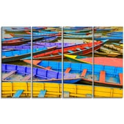 DesignArt 'Old Colorful Sailboats in Lake' Photographic Print Multi-Piece Image on Canvas