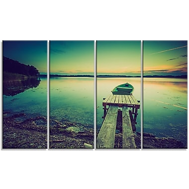 DesignArt 'Pier and Boat in Vintage Lake' Photographic Print Multi-Piece Image on Canvas